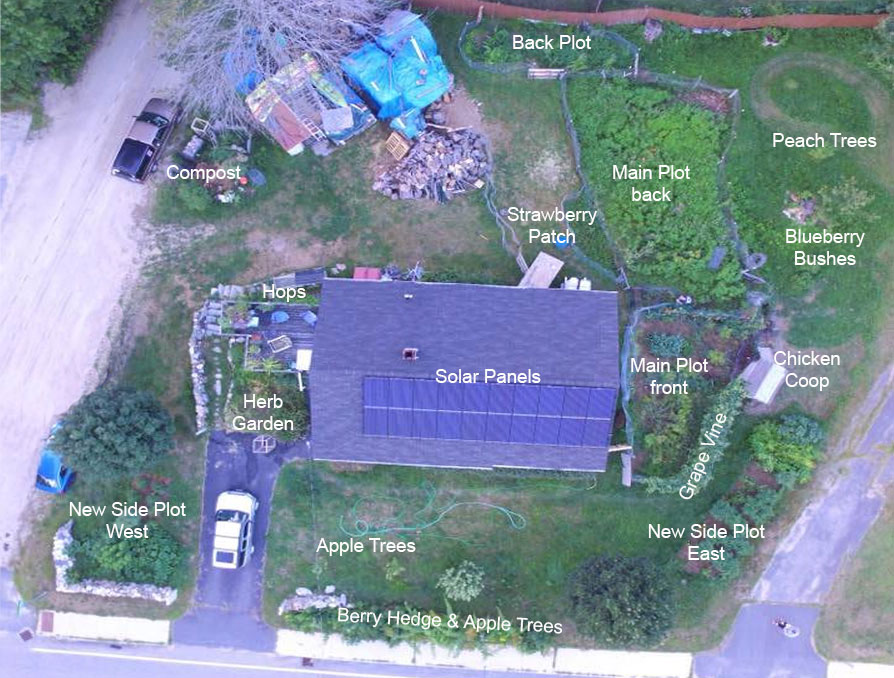 Image of Aerial view of the property with gardens labeled